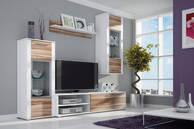 Obývací stěna Ben II - Obývací stěna, LED (bílá, korpus/ baltimor, fronty)