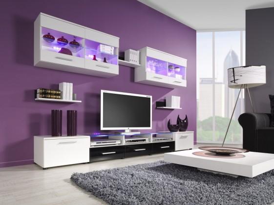 Obývací stěna Cama I (bílá/bílá,černá lesk)