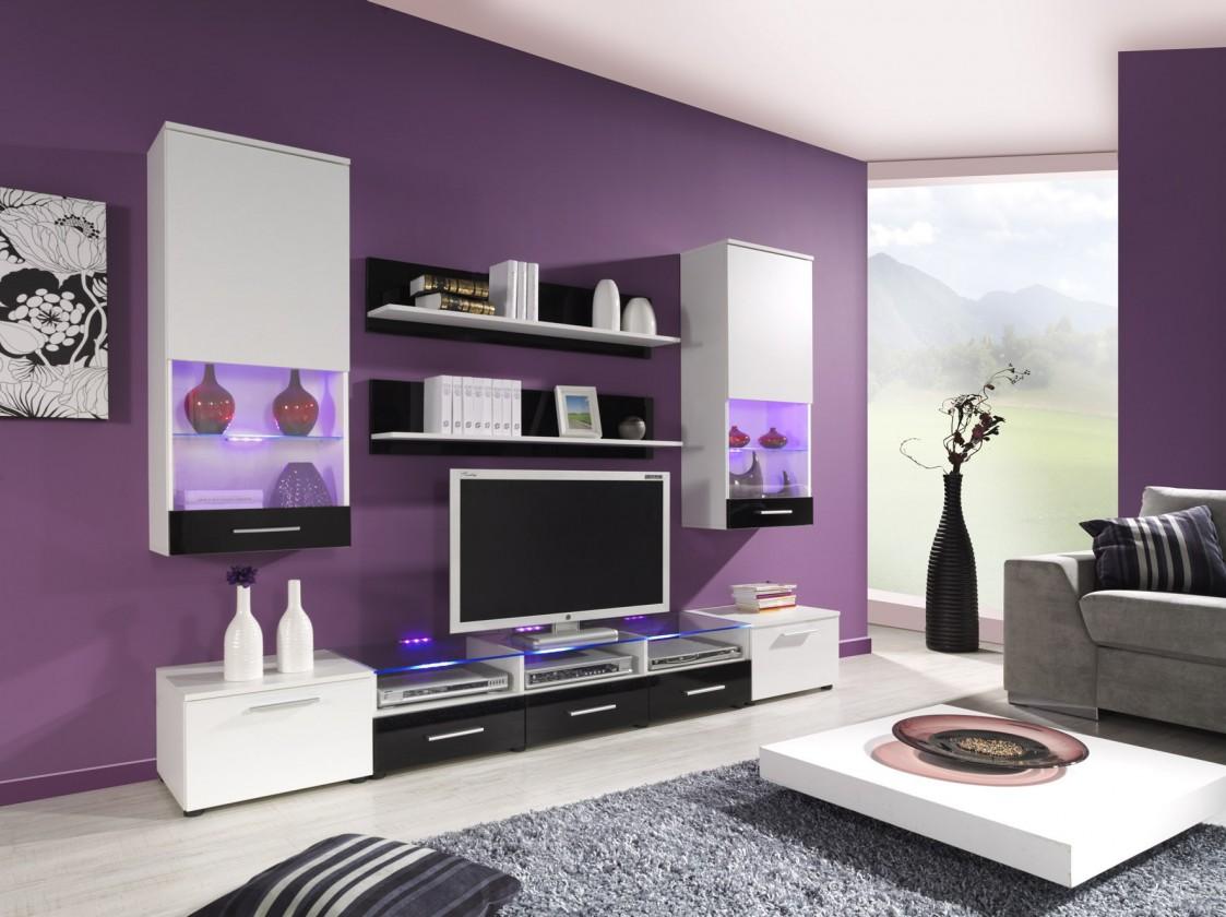 Obývací stěna Cama II (bílá/bílá,černá lesk)