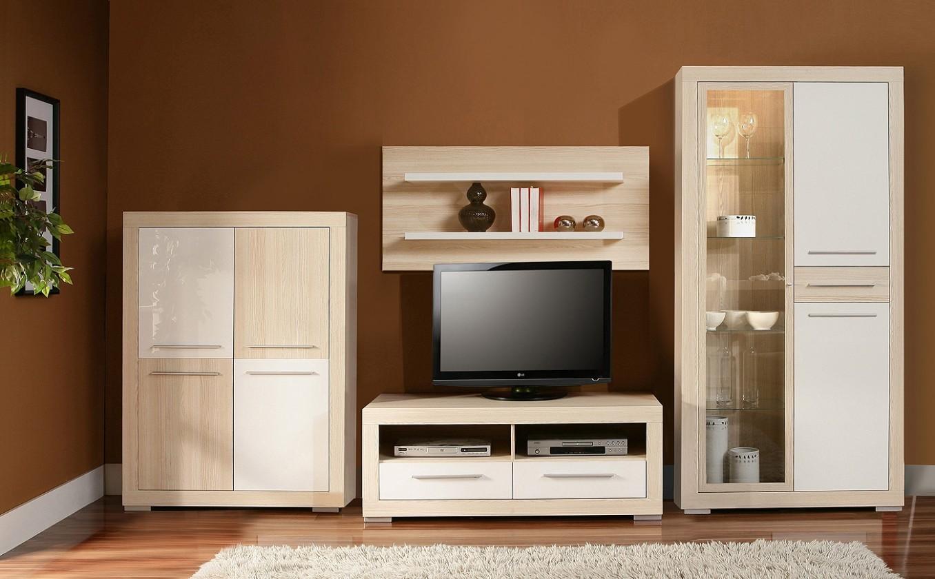 Obývací stěna Cremona Plus CRMM03B (Jasan coimbra/Bílá lesk)