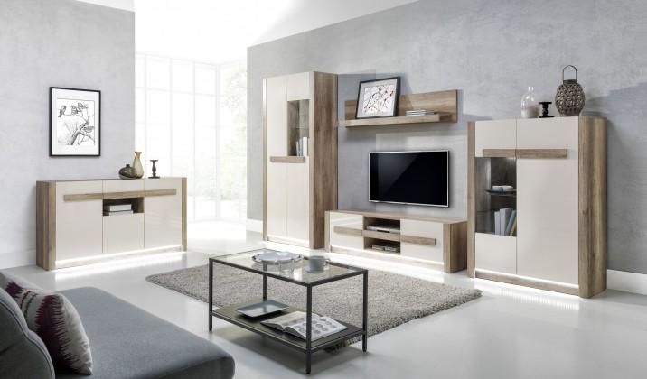 Obývací stěna Diego - Obývací sestava s komodou (country šedá/jasmín lesk,LED)