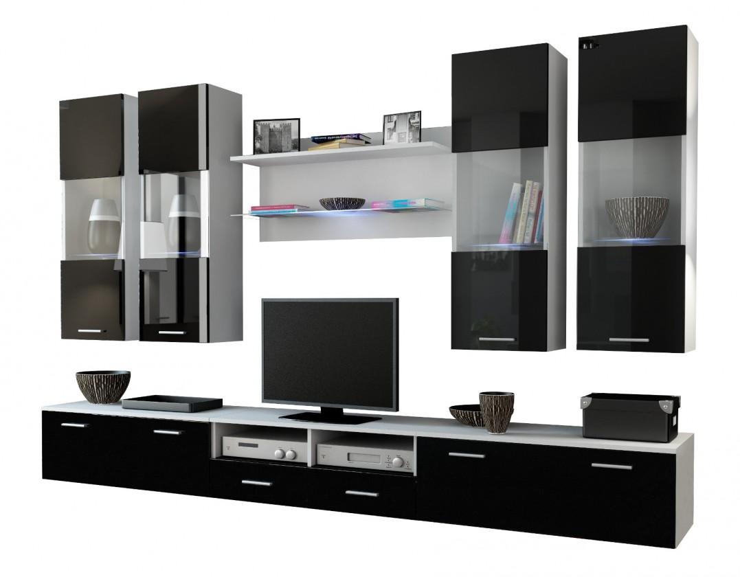 Obývací stěna Dream 1 (Bílá matná/Černá lesk)