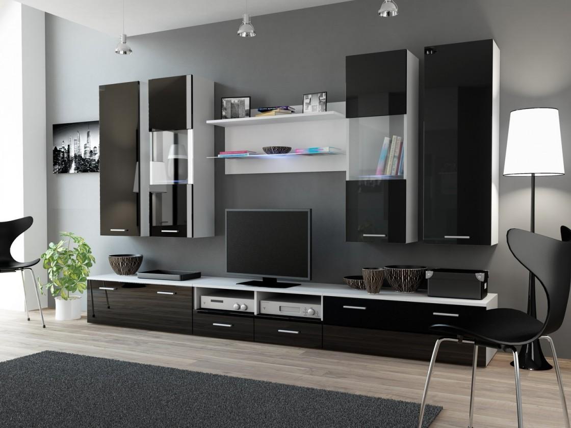 Obývací stěna Dream 2 (Bílá matná/Černá lesk)