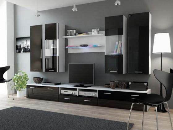 Obývací stěna Dream 2 (bílá matná / lesklá černá)