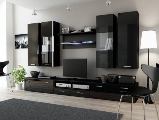 Obývací stěna Dream 2 (černá matná / lesklá černá)