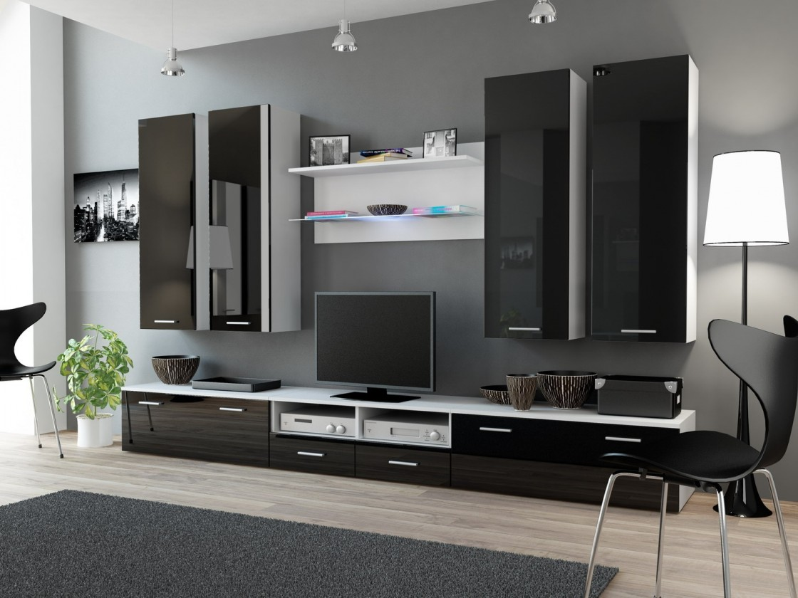 Obývací stěna Dream 3 (Bílá matná/Černá lesk)