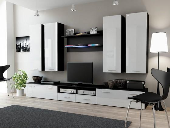 Obývací stěna Dream 3 (Černá matná/Bílá lesk)