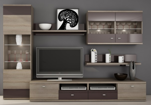 Obývací stěna Enova - Obývací stěna (dub truffle / bazalt lesk)
