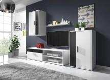Obývací stěna Erin (bílý/černý mat) - II. jakost