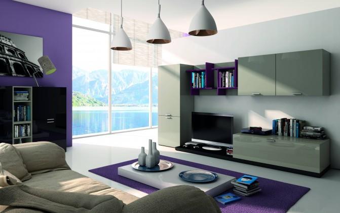 Obývací stěna Fizzy 09 - Obývací stěna (Titanio/Nero/Viola)