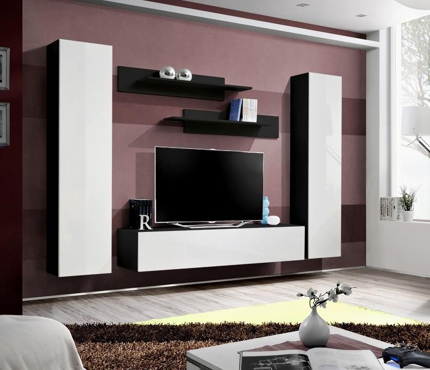 Obývací stěna Fly A1 Stěna, 2x skříň, 2x police, 1x RTV (černý mat/bílý lesk)