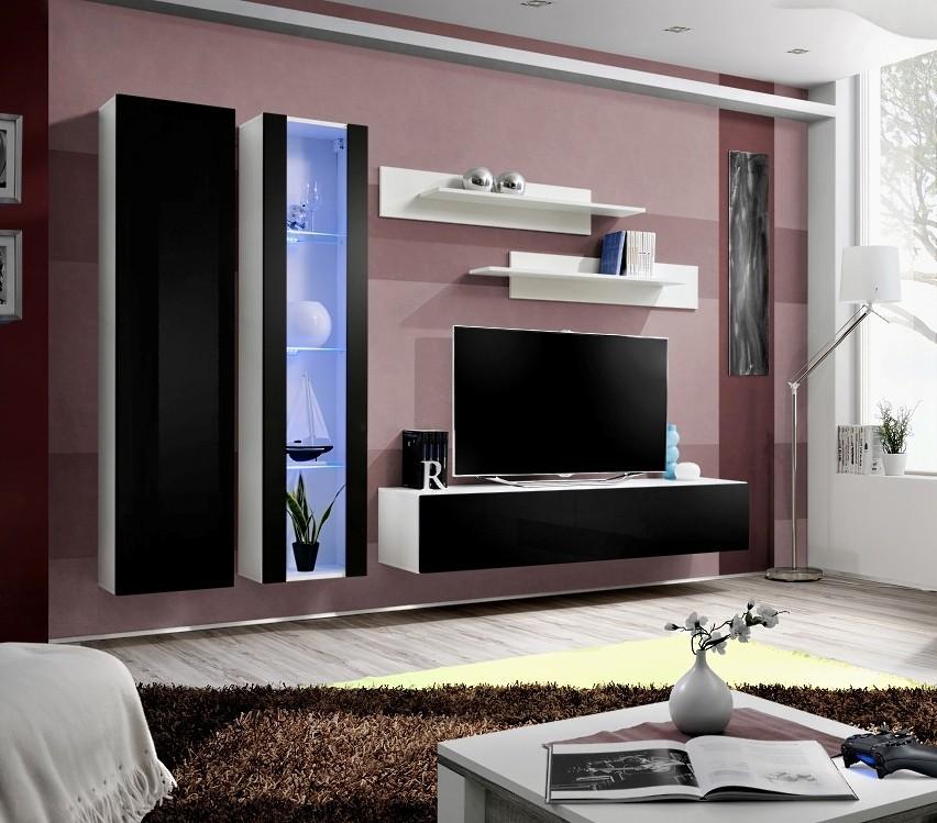 Obývací stěna Fly A4 Stěna, vitrína, skříň, police, RTV (bílý mat/černý lesk)