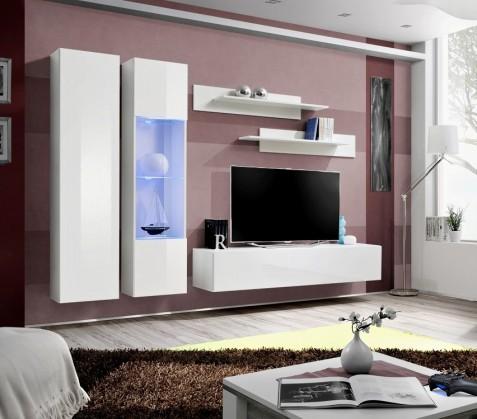 Obývací stěna Fly A5 Stěna, vitrína, skříň, police, RTV (bílý mat/bílý lesk)