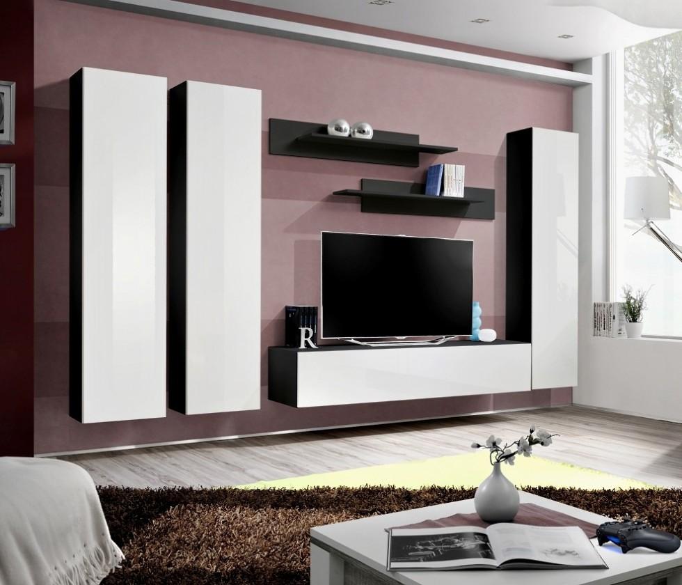 Obývací stěna Fly C1 Stěna, 3x skříň, 2x police, 1x RTV (černý mat/bílý lesk)