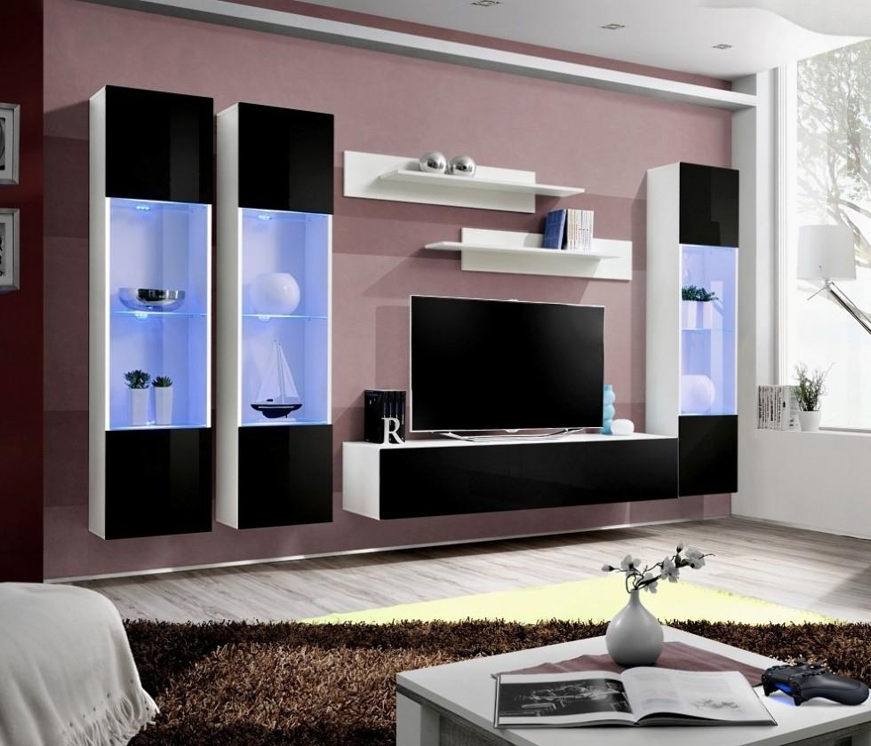 Obývací stěna Fly C3 Stěna, 3x vitrína, 2x police, RTV (bílý mat/černý lesk)