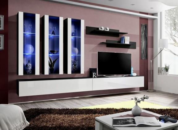 Obývací stěna Fly E3 Stěna, 3x vitrína, 2x police, RTV (černý mat/bílý lesk)
