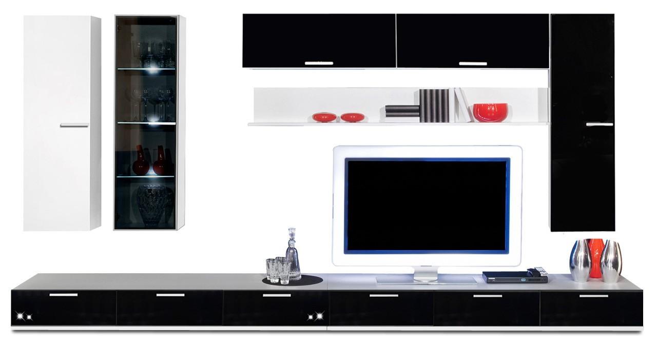 Obývací stěna Game - obývací stěna 3472159 (bílá/černá)