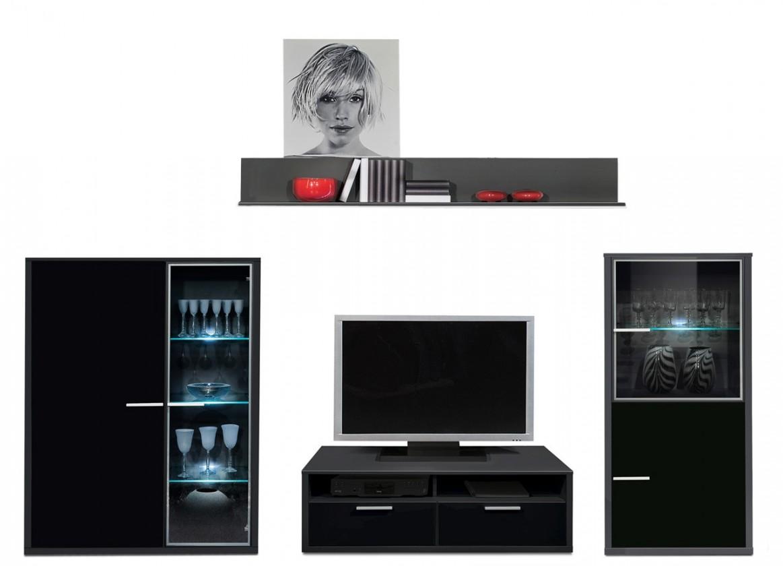 Obývací stěna Game - obývací stěna 349225 (černá/černá)