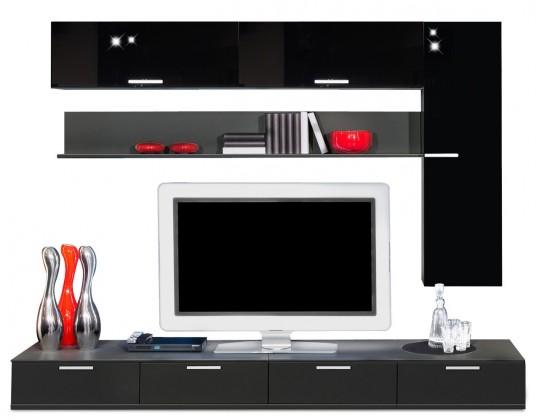 Obývací stěna Game - obývací stěna 349275 (černá/černá)