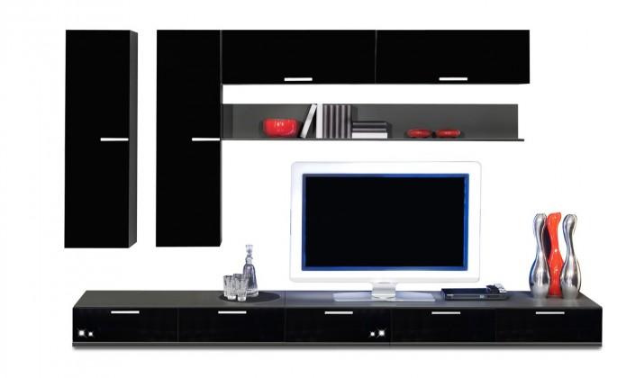 Obývací stěna Game - obývací stěna 3493169 (černá/černá)