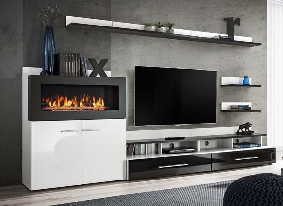 Obývací stěna Haldis (bílá, černá)