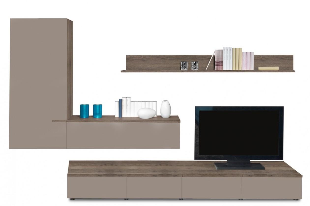 Obývací stěna Linea - obývací stěna 2657554 (dub tmavý/šedý kám.lak/dub tmavý)