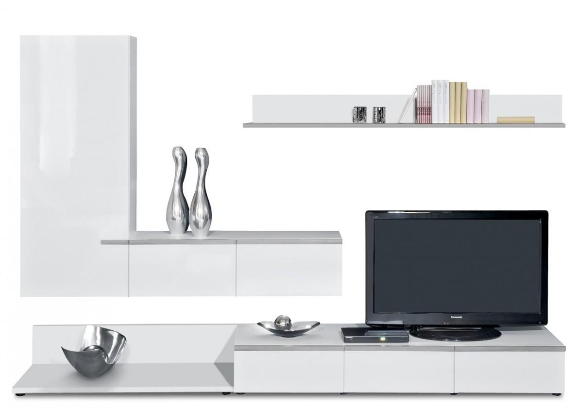 Obývací stěna Linea - obývací stěna 2677358 (bílá/bílá lak HG/stříbrná)