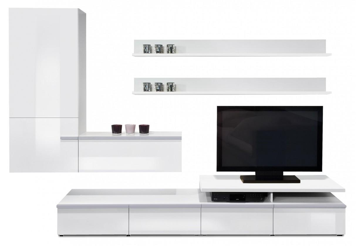 Obývací stěna Linea - obývací stěna 2677458 (bílá/bílá lak HG/stříbrná)