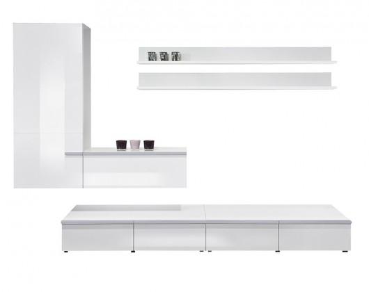 Obývací stěna Linea - Obývací stěna (bílá/bílá HG/stříbrná)