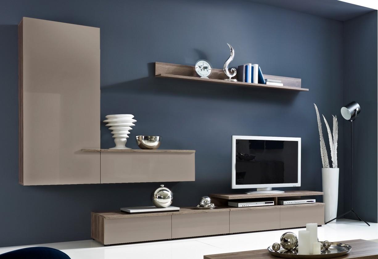 Obývací stěna Linea - Obývací stěna (dub tmavý HN/šedá HG/ dub tmavý HN)