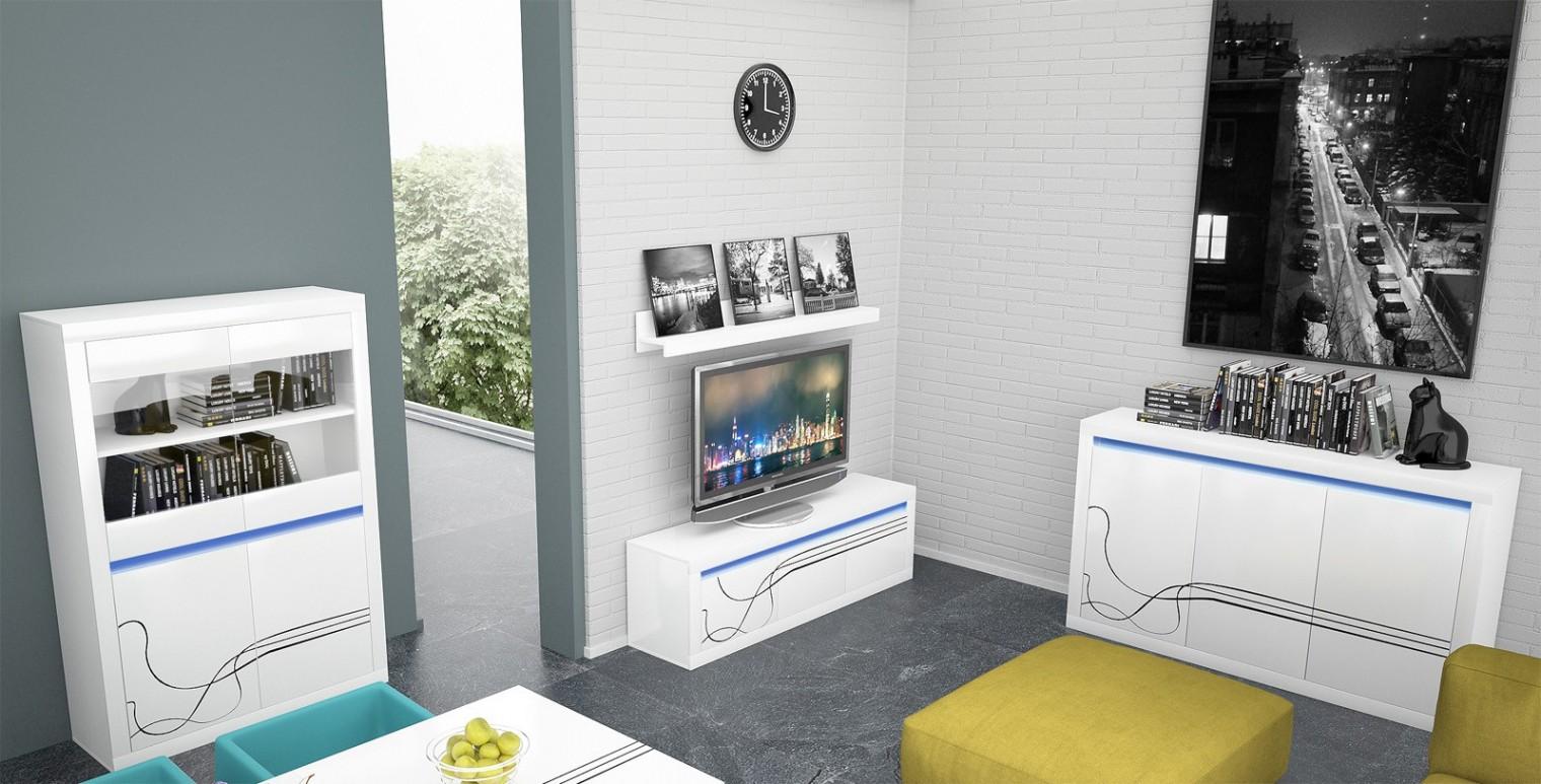 Obývací stěna Lino - Obývací sestava, police, komoda, vitrína, komoda (bílá)