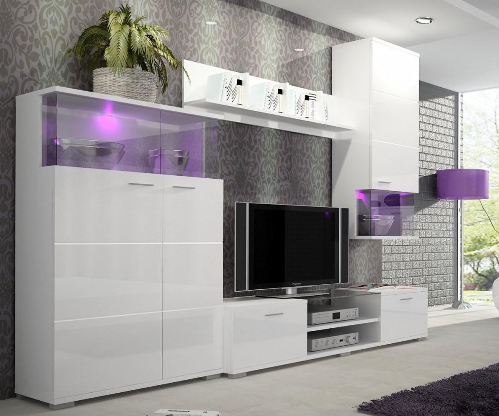 Obývací stěna Luis - Obývací stěna, police, RTV komoda (bílá)