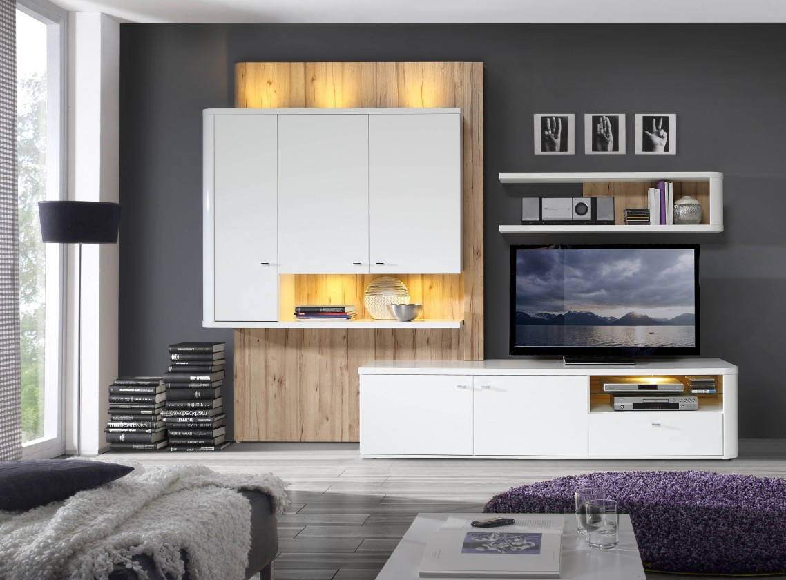 Obývací stěna Marlow - Obývací stěna (bílá/bílá lesk/dub)