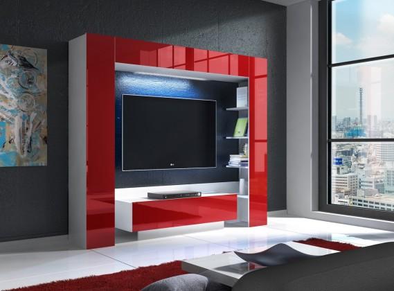 Obývací stěna Mezek - obývací stěna (bílá/červená)