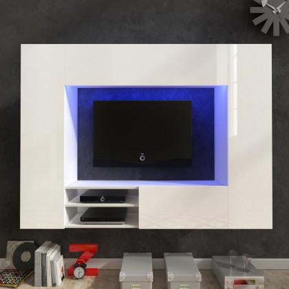 Obývací stěna Net - Obývací stěna (bílá/bílá lesk)