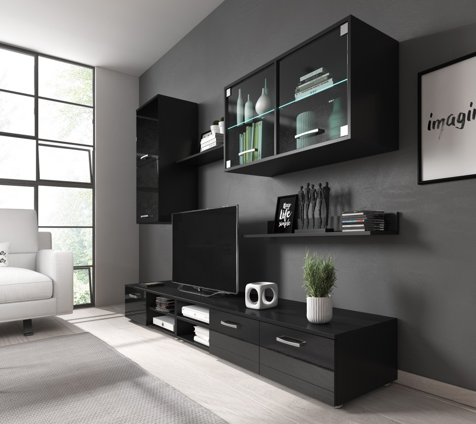 Obývací stěna Obývací stěna Klara (černý mat/lesk)