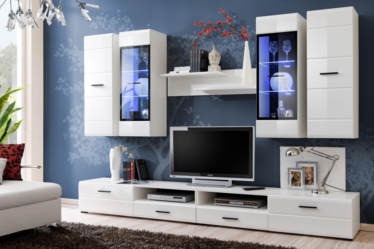 Obývací stěna Obývací stěna Lauren (bílý korpus/ bílý lesk fronty)