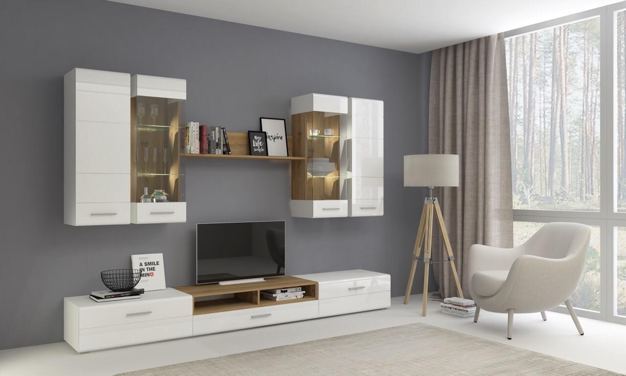 Obývací stěna Obývací stěna Rodos (bílá/dub wotan)