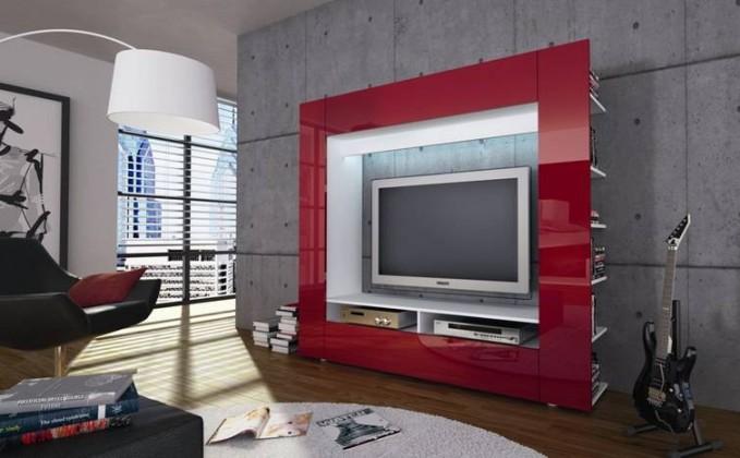 Obývací stěna Olli (bílá/červená vysoký lesk)
