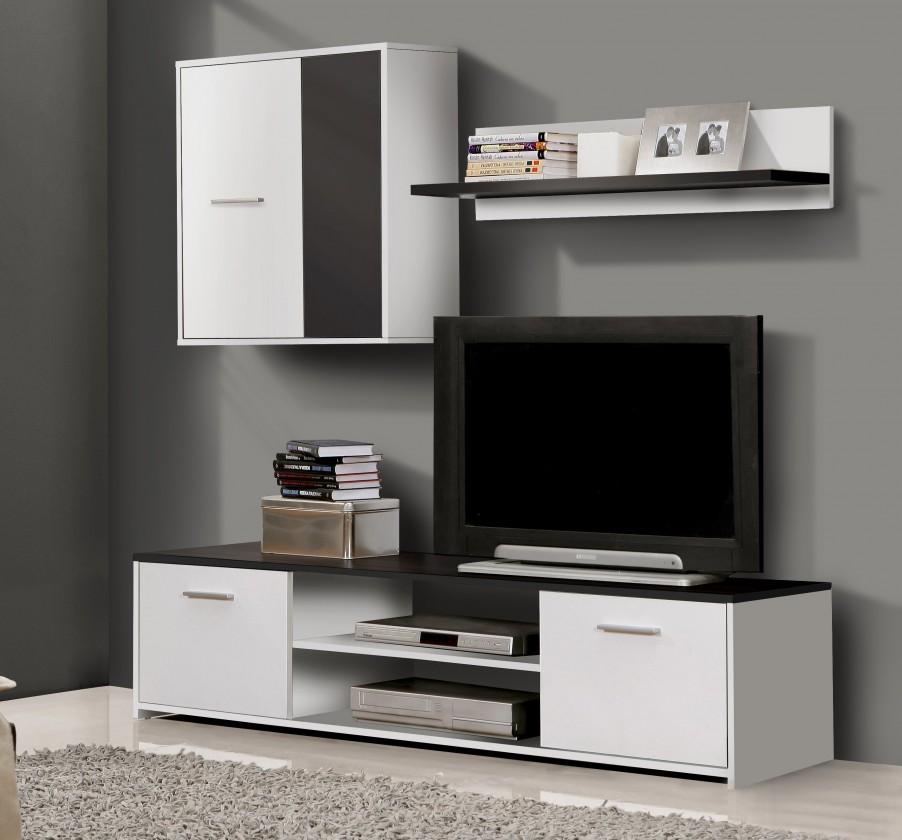 Obývací stěna Paco PCOM01-V05(bílá/černá)