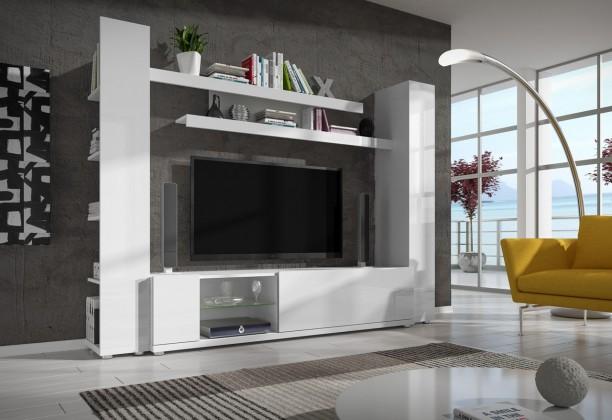 Obývací stěna Pascal - obývací stěna (bílá/bílá lesk)