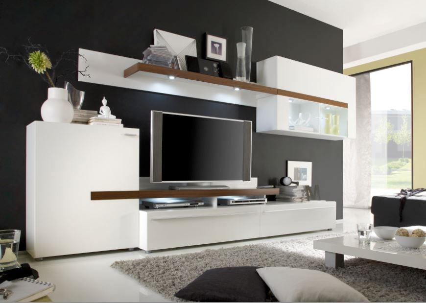 Obývací stěna Piano - Obývací stěna (bílá / ořech virginia / sklo)
