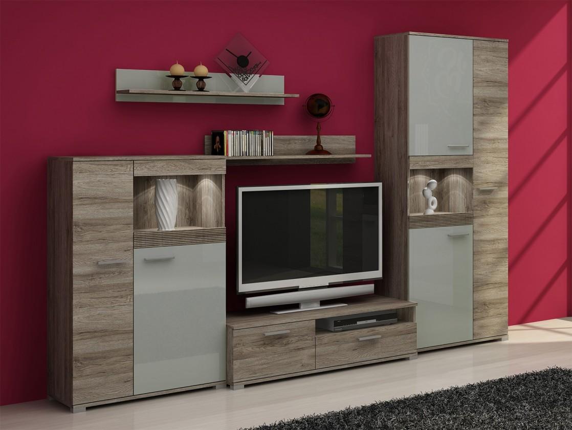 Obývací stěna Roberto - Obývací stěna (sanremo, korpus/šampaň mat, fronty)