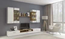 Obývací stěna Rodos (bílá/dub wotan)