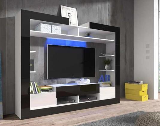 Obývací stěna Sek - obývací stěna (bílá/černá/bílá)