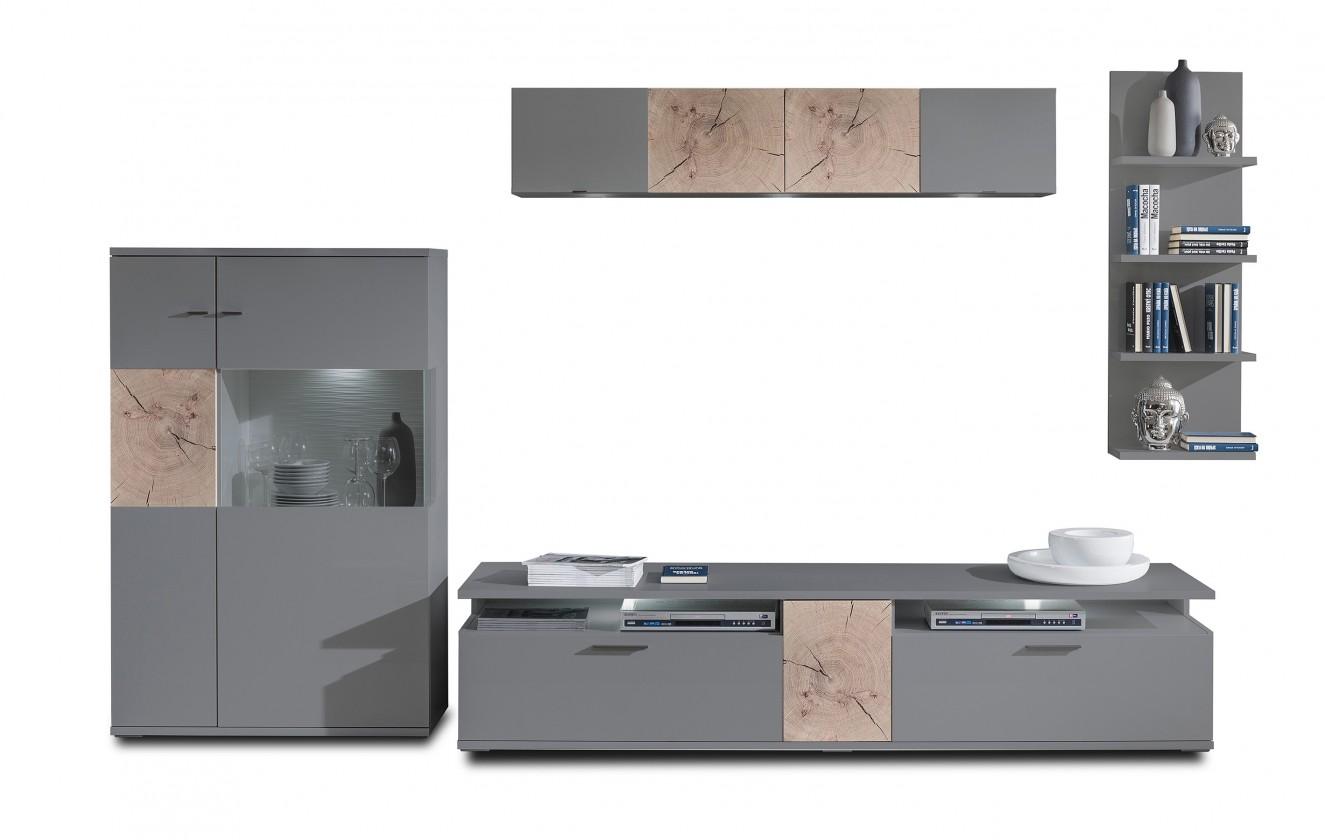 Obývací stěna Toro - Kombi 14 (antracit/antracit super lesk/sand remo)