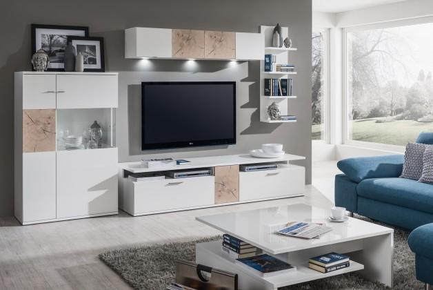 Obývací stěna Toro - Kombi 14 (bílá/bílá super lesk/řez hranolem sand remo)