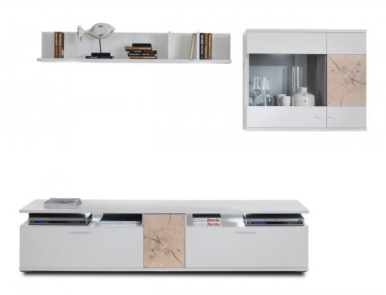 Obývací stěna Toro - Kombi 18 (bílá/bílá super lesk/řez hranolem sand remo)
