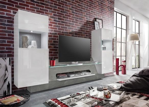 Obývací stěny Air - Obývací stěna,2x osvětlení (bílá mat/bílá lesk)