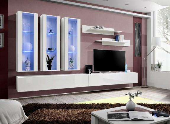 Obývací stěny Fly E3 Stěna, 3x vitrína, 2x police, RTV (bílý mat/bílý lesk)